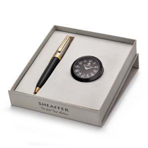Sheaffer 337 Ballpoint Pen With Black Table Clock