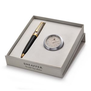 Sheaffer 337 Ballpoint Pen With Chrome Table Clock
