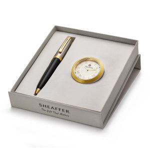 Sheaffer 337 Ballpoint Pen With Gold Chrome Table Clock
