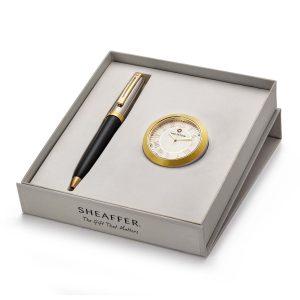 Sheaffer 337 Ballpoint Pen With Gold Chrome Table Clock