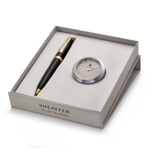 Sheaffer 346 Ballpoint Pen With Chrome Table Clock