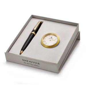 Sheaffer 346 Ballpoint Pen With Gold Chrome Table Clock
