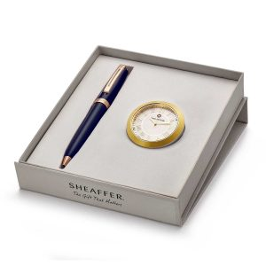 Sheaffer 9143 Ballpoint Pen With Gold Chrome Table Clock