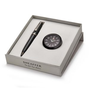 Sheaffer 9144 Ballpoint Pen With Black Table Clock