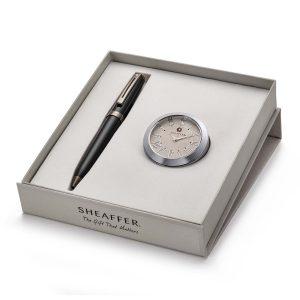 Sheaffer 9144 Ballpoint Pen With Chrome Table Clock