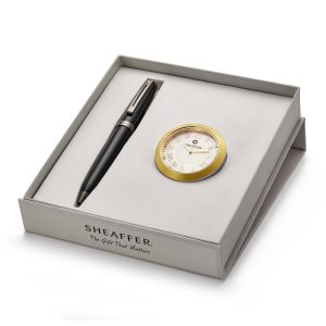 Sheaffer 9144 Ballpoint Pen With Gold Chrome Table Clock Rs. 4400