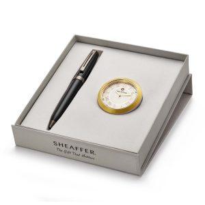 Sheaffer 9144 Ballpoint Pen With Gold Chrome Table Clock