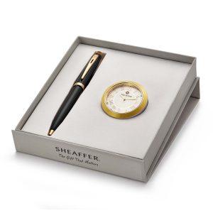 Sheaffer 9322 Ballpoint Pen With Gold Chrome Table Clock