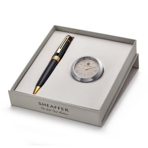 Sheaffer 9325 Ballpoint Pen With Chrome Table Clock
