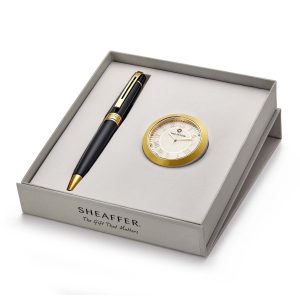 Sheaffer 9325 Ballpoint Pen With Gold Chrome Table Clock