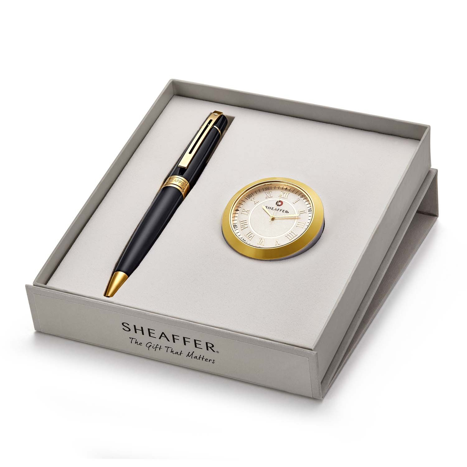 Sheaffer 9325 Ballpoint Pen With Gold Chrome Table Clock Rs. 2400