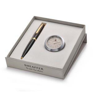 Sheaffer 9471 Ballpoint Pen With Chrome Table Clock