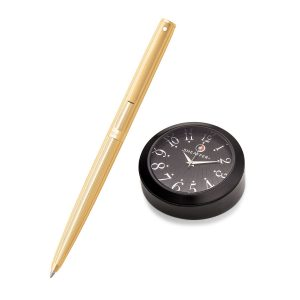 Sheaffer 9474 Ballpoint Pen With Black Table Clock
