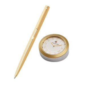 Sheaffer 9474 Ballpoint Pen With Gold Chrome Table Clock