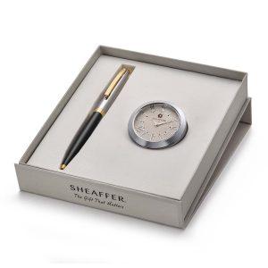 Sheaffer 9475 Ballpoint Pen With Chrome Table Clock