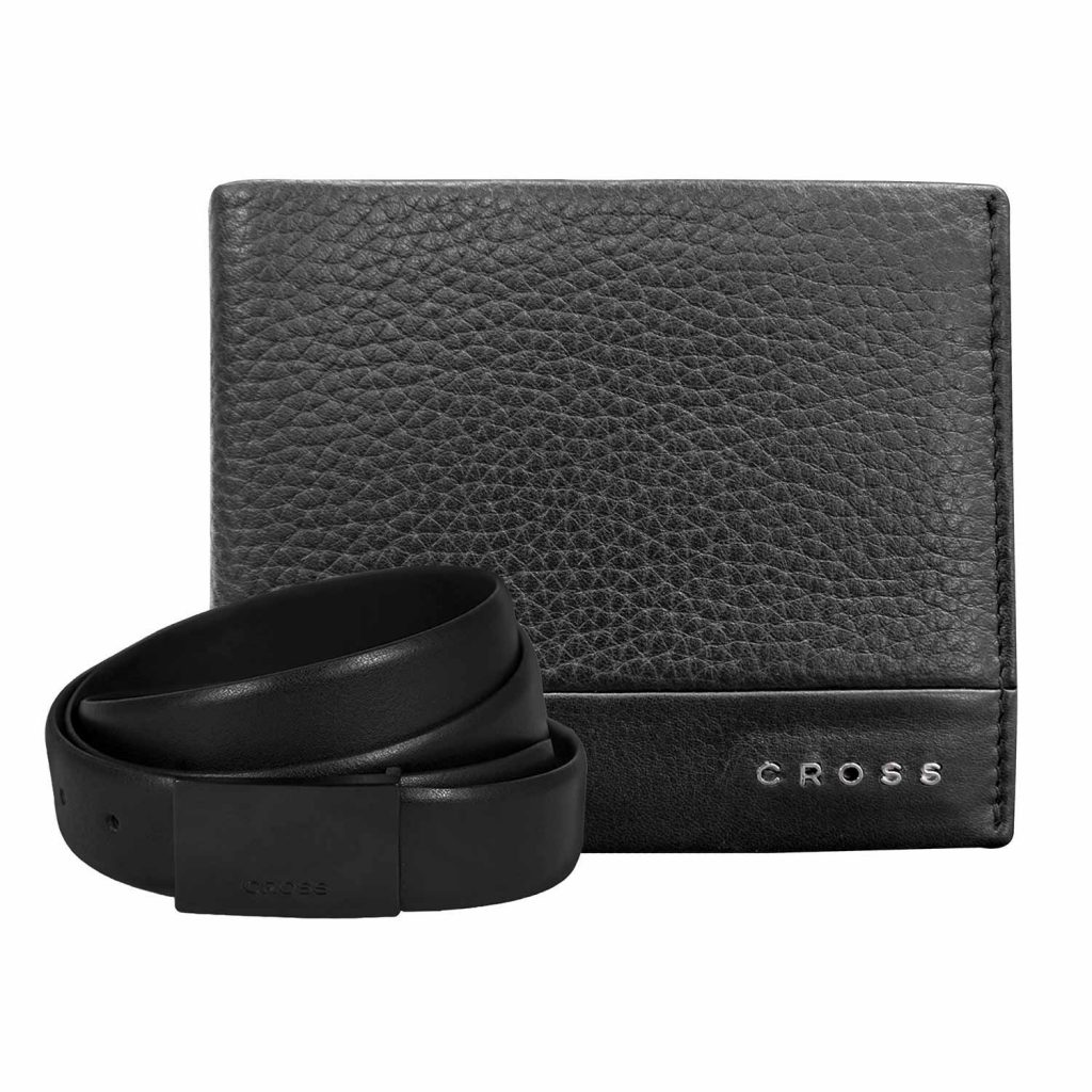 Cross Leather Combo - Nueva FV Belt And Slim Wallet - Black Price Rs. 3499
