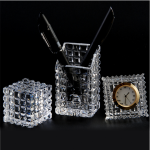 Crystal Glass Office Table Accessories Set - Clock, Pen Holder, Paper Weight