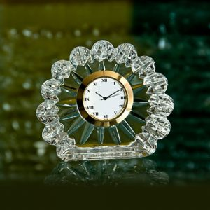 Flower Crystal Glass Desk Clock B