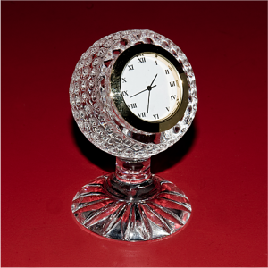 Golf Ball Crystal Glass Desk Clock
