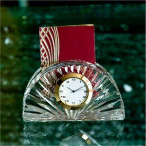 Half Moon Card Holder Crystal Glass Desk Clock