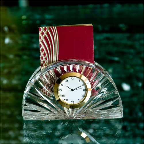 Half Moon Card Holder Crystal Glass Desk Clock