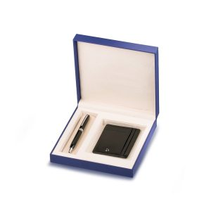 Contemporary Dark Metal Ballpoint Pen And Leather Card Holder Gift Set Rs. 6500