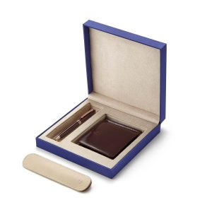 Lapis Bard - Contemporary Merlot Rose Gold Trims Ballpoint Pen With Savile Row Money Clip Wallet Rs. 9950