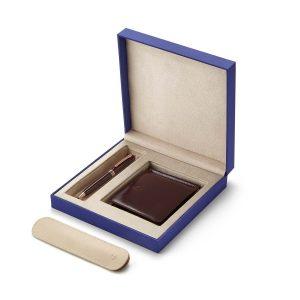 Lapis Bard - Contemporary Merlot Rose Gold Trims Ballpoint Pen With Savile Row Money Clip Wallet Rs. 9950