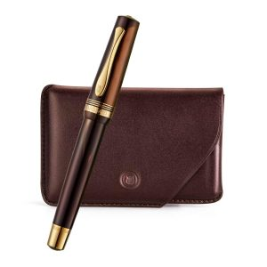Lapis Bard - Windsor Emperador Rollerball Pen With Card Holder Rs. 13000