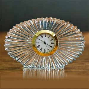 Oval Shape Crystal Glass Desk Clock