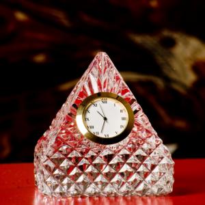 Pyramid Crystal Glass Desk Clock