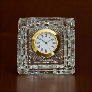 Square Crystal Glass Desk Clock