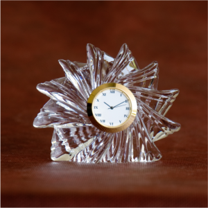Sunflower Crystal Glass Desk Clock