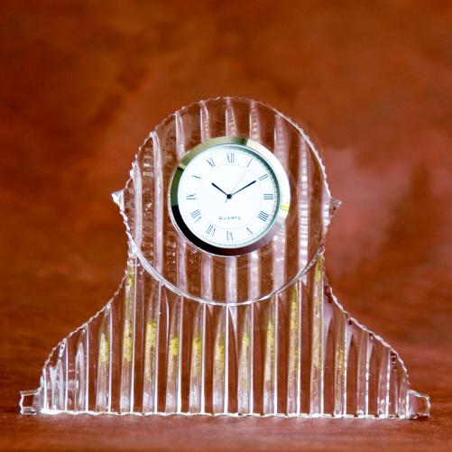 Tambour Crystal Glass Desk Clock