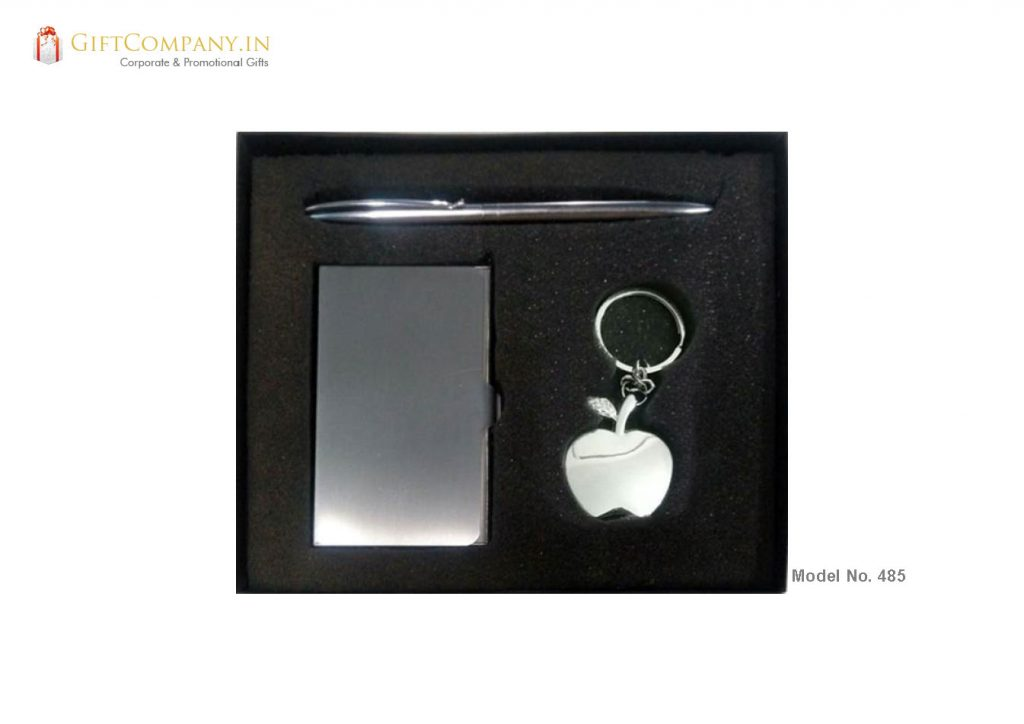 Gift Set - Apple Keychain, Pen and Metal Card Holder