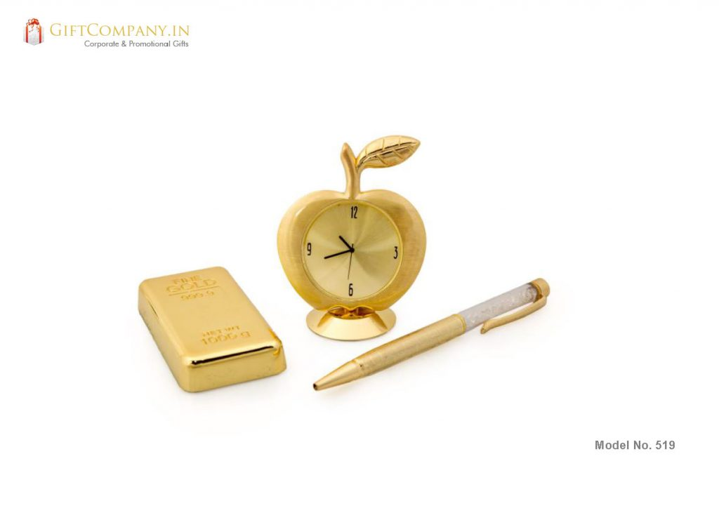 Gift Set - Gold Bar, Gold Apple Clock and Crystal Pen