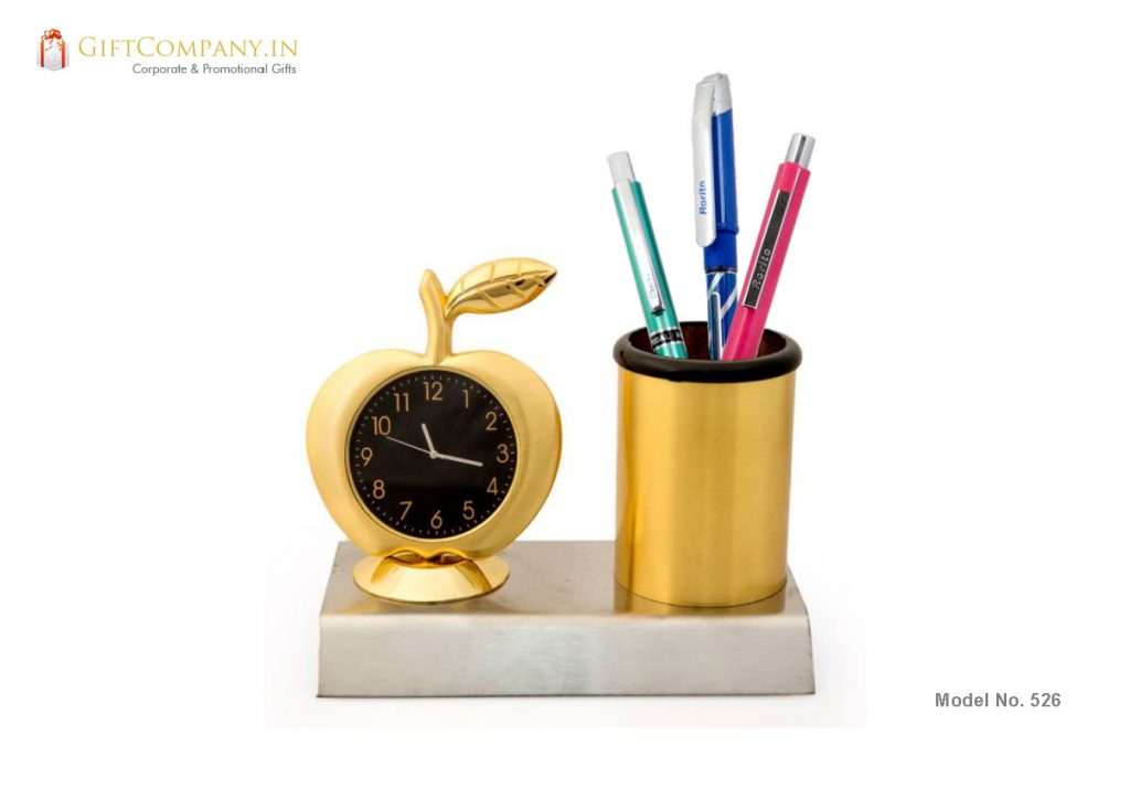 Apple Gold Pen Stand with Clock