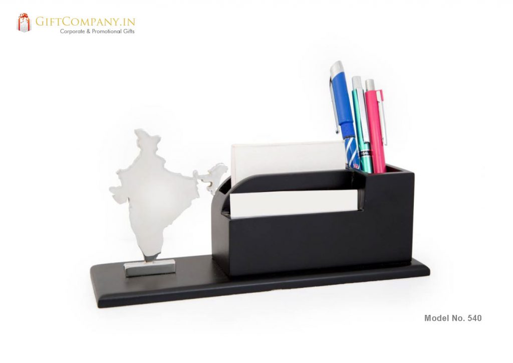 India Map with Card Holder and Pen Stand