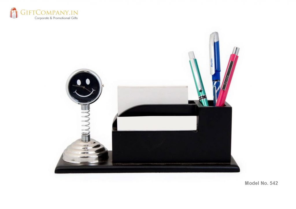 Spring Smiley Clock with Pen Stand and Card Holder