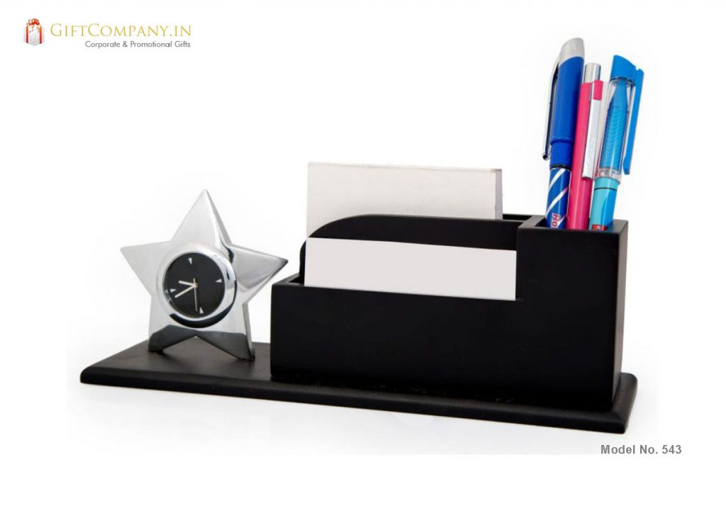 Star Shaped Clock with Pen Stand and Card Holder