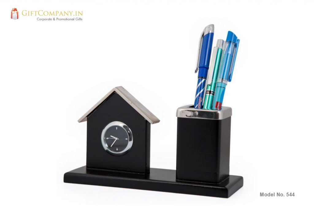 House Shaped Clock with Pen Stand