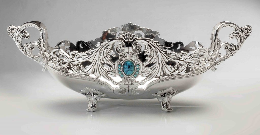 FB1007-B-M-S Luxury Silver Fruit Basket Silver Fruit Bowl