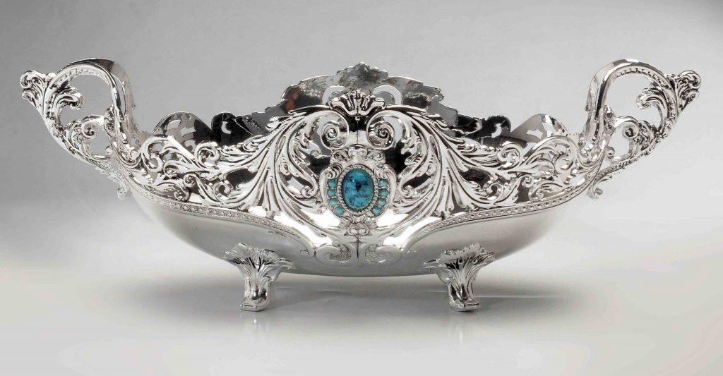 FB1007-B-M-S Luxury Silver Fruit Basket Silver Fruit Bowl