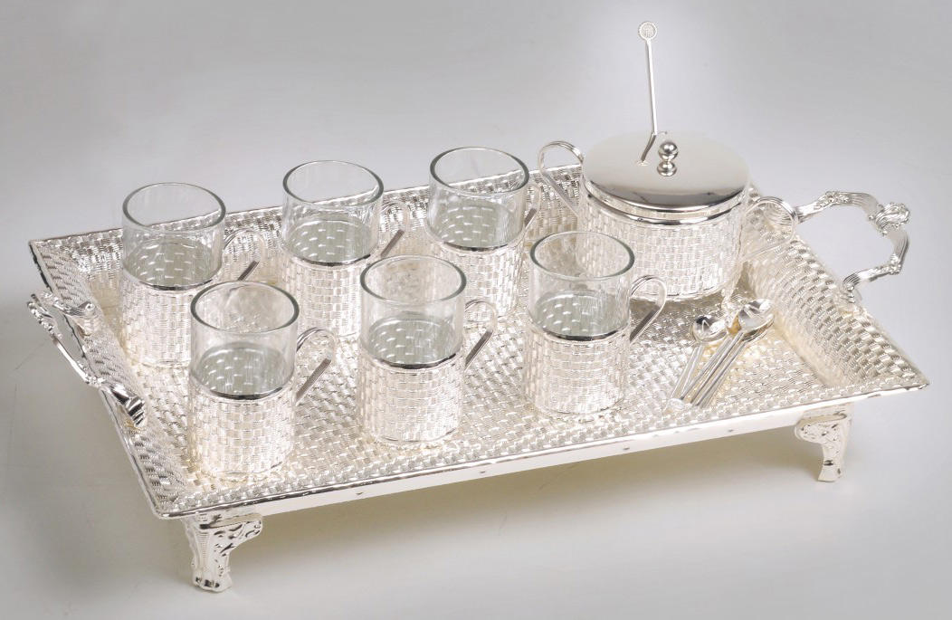 GI1056 Silver Plated Tea Set with Tray