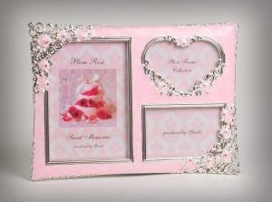 PF1090 - Silver Plated Pink Roses Family Picture Photo Frame 3 in 1