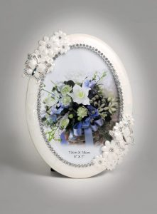 PF1094 - Silver Plated Photo Frame Modern Mother of Pearl Wedding Picture Frame