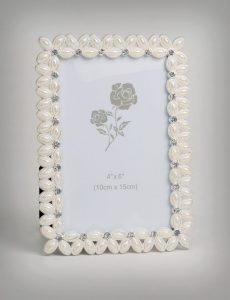PF1095 - Wedding Accents Square Silver Plated White Pearls and Clear Rhinestones Photo Picture Frame Gifts