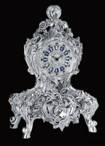 WC1012 - Vintage Rose Silver Clock