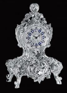 WC1012 - Vintage Rose Silver Clock