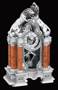 WC1015 - Royal Lion Roman Art Silver Plated Clock from Italy